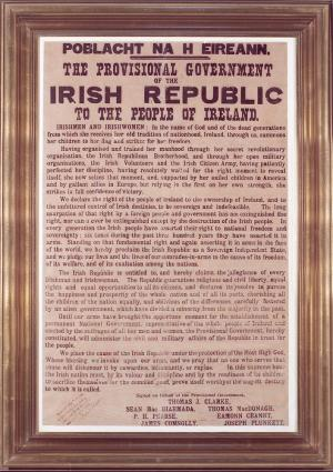 Framed copy of the Proclamation of the Irish Republic