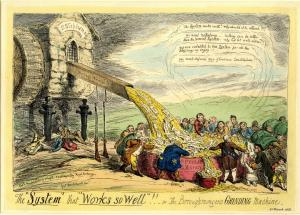 "The ""system"" that ""works so well""!! - or the boroughmongers grinding machine, 1831, etching by George Cruikshank"