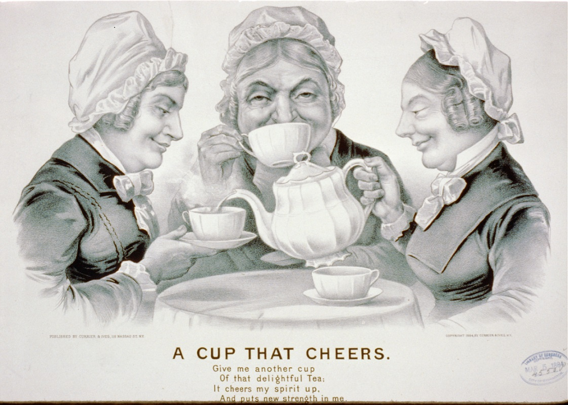 "1884 drawing of three ladies enjoying tea, entitled ""A cup that cheers"""