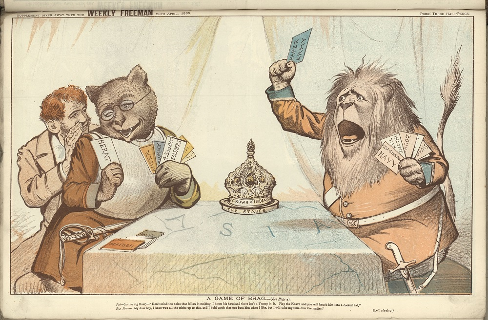 Cartoon despicting a Russian bear and British lion playing cards for the crown of India. An Irish man advises the bear that the lion has a weak hand. The bear has won all the tricks so far.