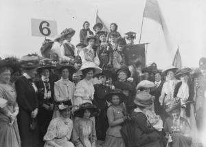 Hanna Sheehy Skeffington at a suffrage demonstration in Hyde Park, 1908