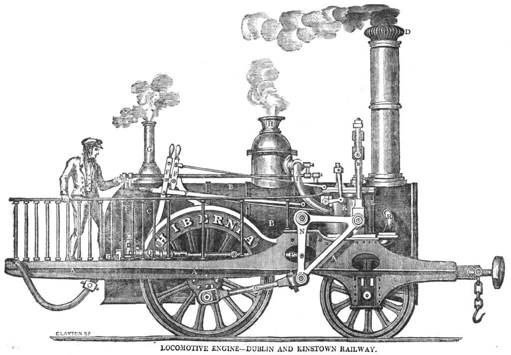 Line drawing of locomotive on the Dublin and Kingstown railway