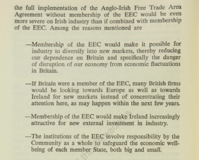 Membership of the European Communities, Implications for Ireland, April 1970
