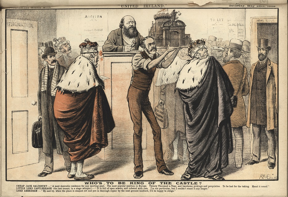 Satirical cartoon depicting Dublin Castle being auctioned to peers dressed in coronets and ermine robes, 1889