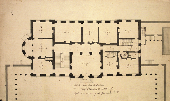 Original architectural drawing of the plan of Leinster House