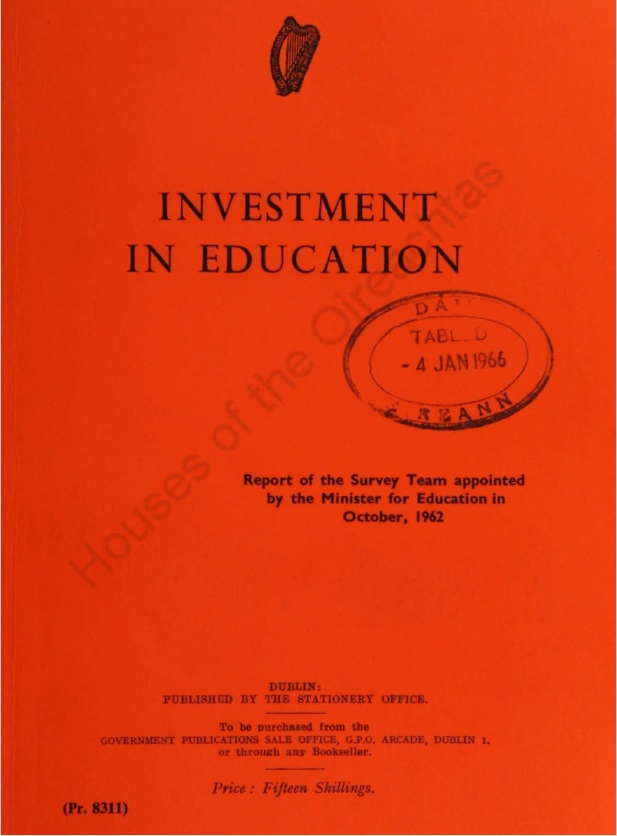 Front cover (red) of the Investment in Education report, 1966