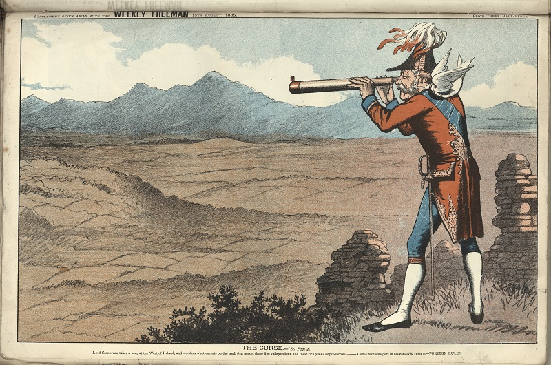 "18th century caricature entitled ""The Curse"", depicting Lord Carnarvon peering through a telescope at the west of Ireland"