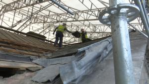 Workers on the roof of Leinster House
