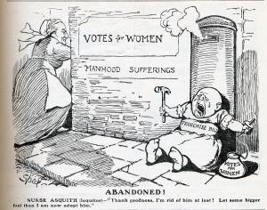 Cartoon showing Prime Minister Asquith abandoning the Franchise Bill 1913