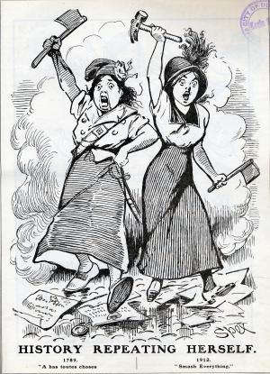 Cartoon comparing militant suffragettes with women of the French Revolution