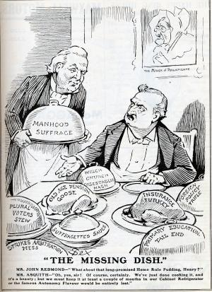 Cartoon of John Redmond and HH Asquith, 1911