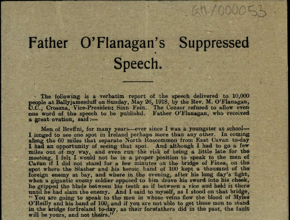 Father O'Flanagan's Suppressed Speech, 26 May 1918