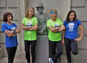 Mary Ryan Jennings, Lizzie Lee, Mary Hickey and Caitriona Jennings with the statue of Constance de Markievicz outside Leinster House