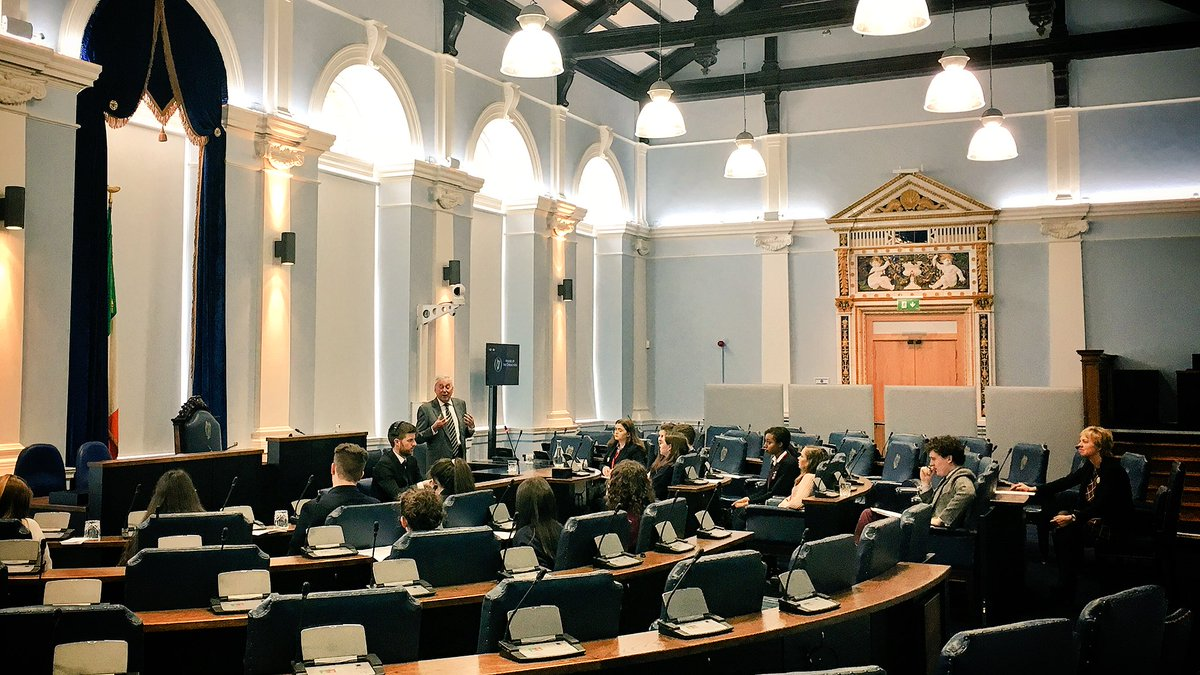 Dr. Maurice Manning addressing students in the Seanad Chamber
