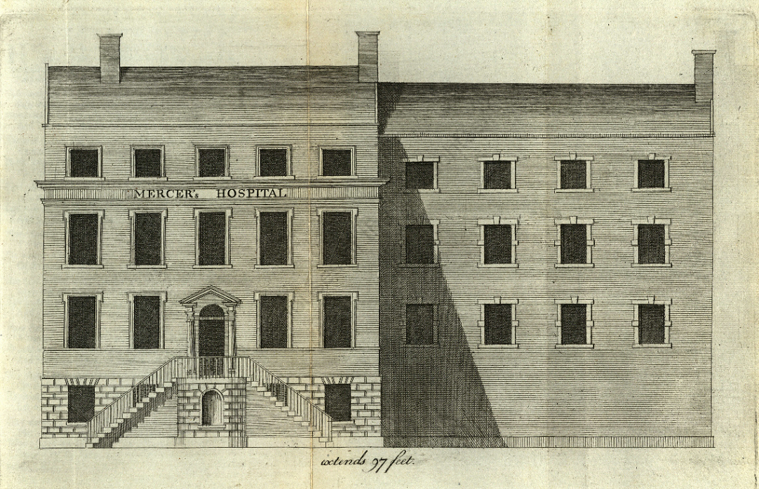 Engraving of the facade of Mercer's Hospital, 1762