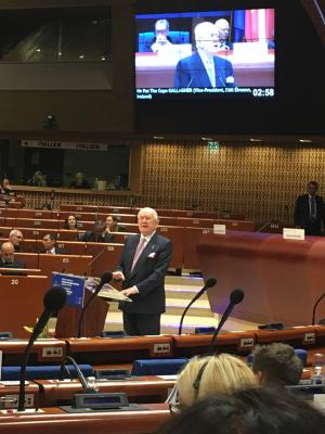 Pat the Cope Gallagher speaking at teh Council of Europe in Strasbourg