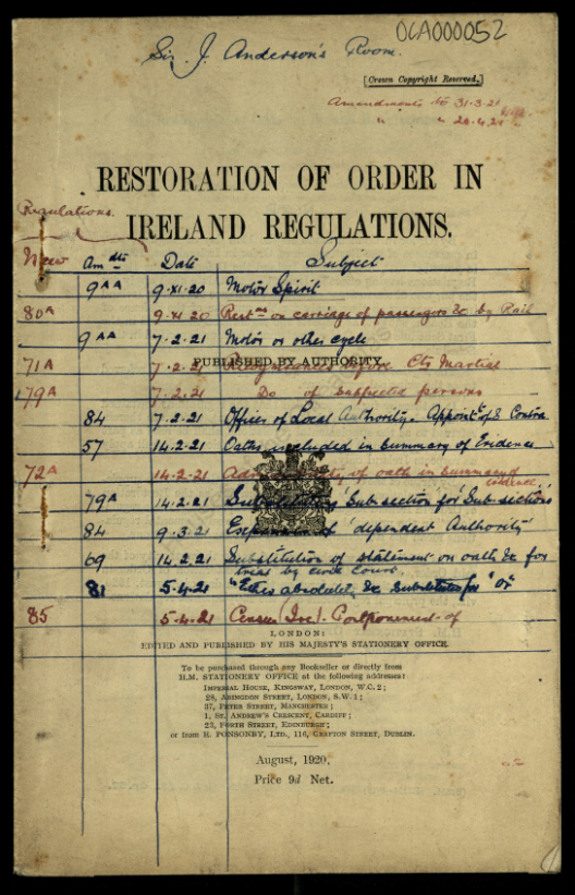 Restoration of Order in Ireland, August 1920
