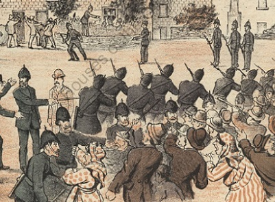 Cartoon showing an attempted eviction at Castleview, Co. Cork in 1886