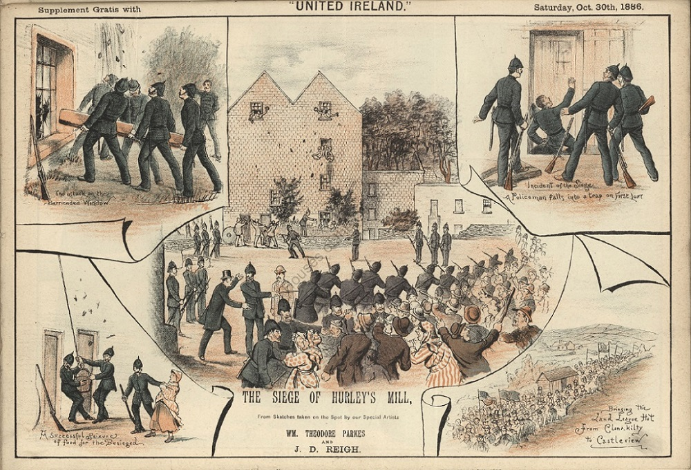 1886 cartoon depicting five scenes of an eviction in County Cork
