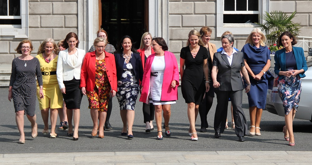 Members of the Irish Women's Parliamentary Caucus outside Leinster House, Dublin