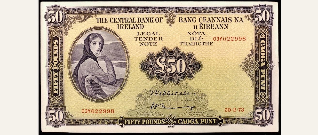 Obverse side of a Series A £50 note, showing the female figure taken to be Lady Lavery, wife of artist Sir John Lavery