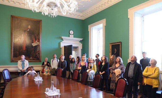 Visitors in a room in Leinster house