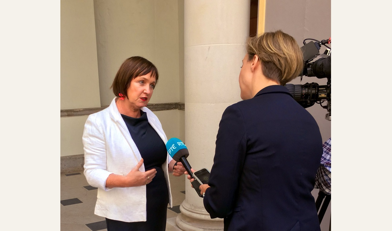 Deputy Fiona O'Loughlin being interviewed by an RTE reporter outside Leinster House 2000
