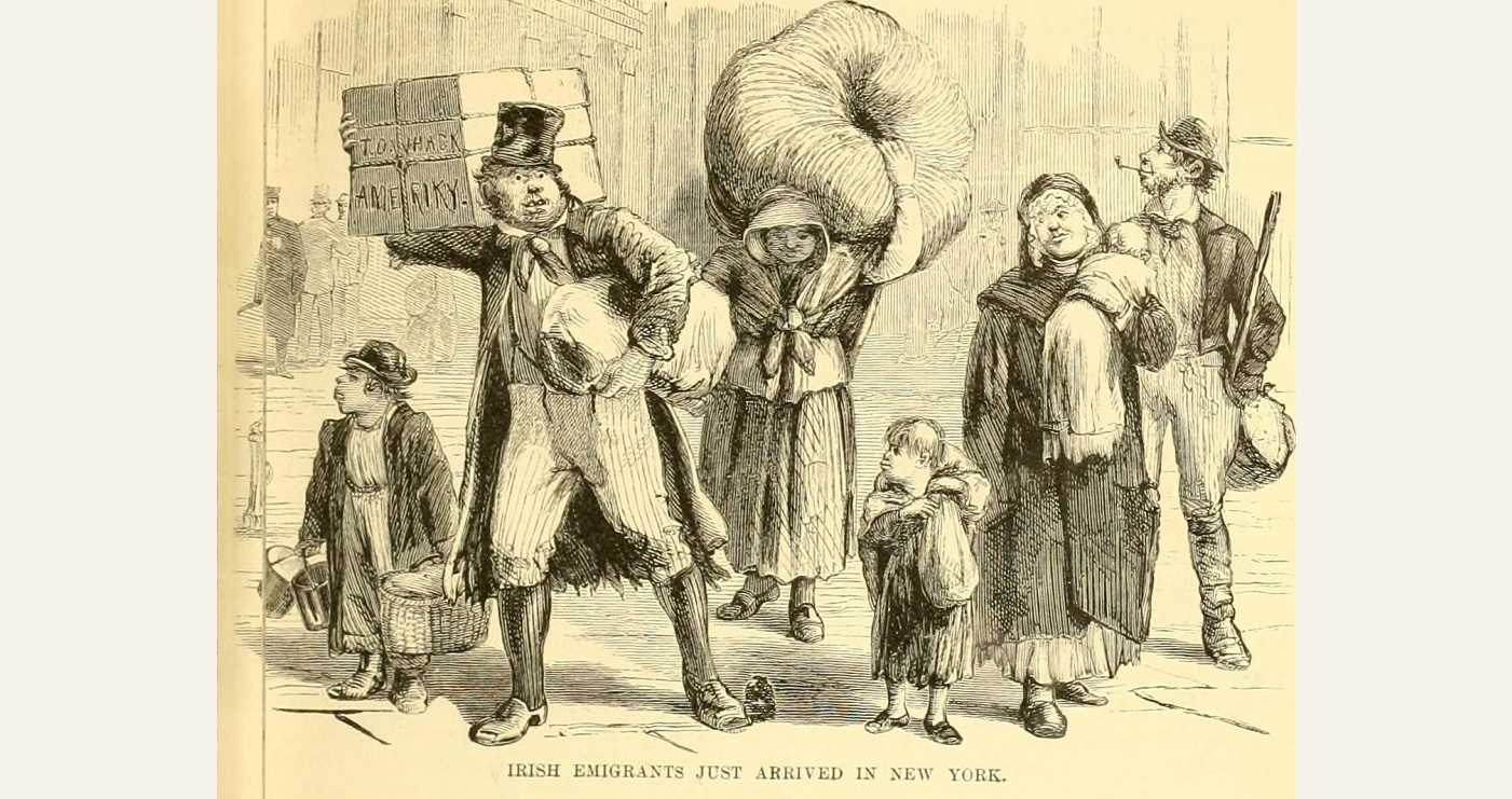 19th century cartoon depicting Irish emigrants just arrived in New York