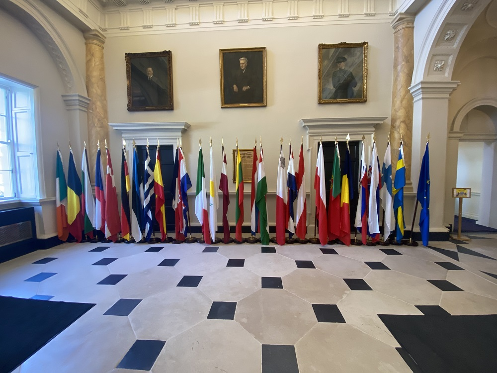 Flags of the 27 EU member states on display in the main hall of Leinster House