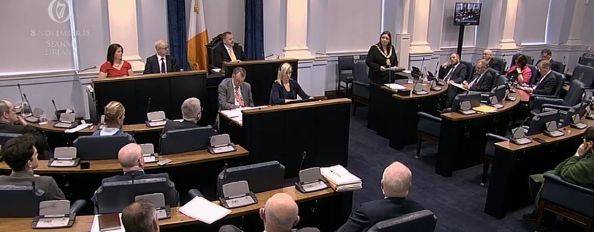 Lord Mayor of Belfast, Deirdre Hargey, addressing Seanad Éireann