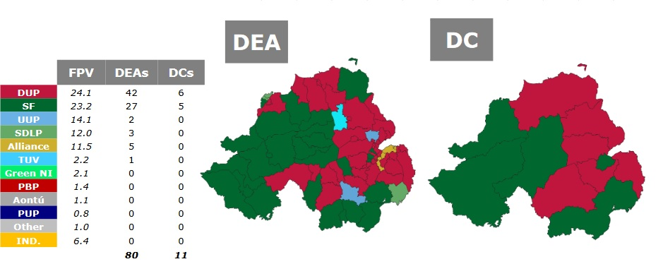 Detail from infographic showing Northern Ireland constituencies