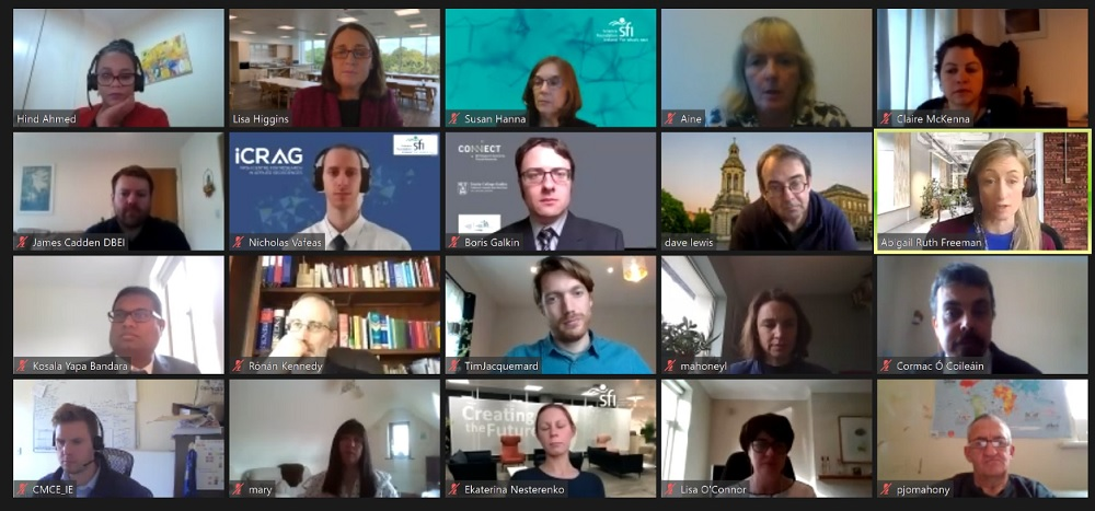 Faces of 20 people attending a virtual press event