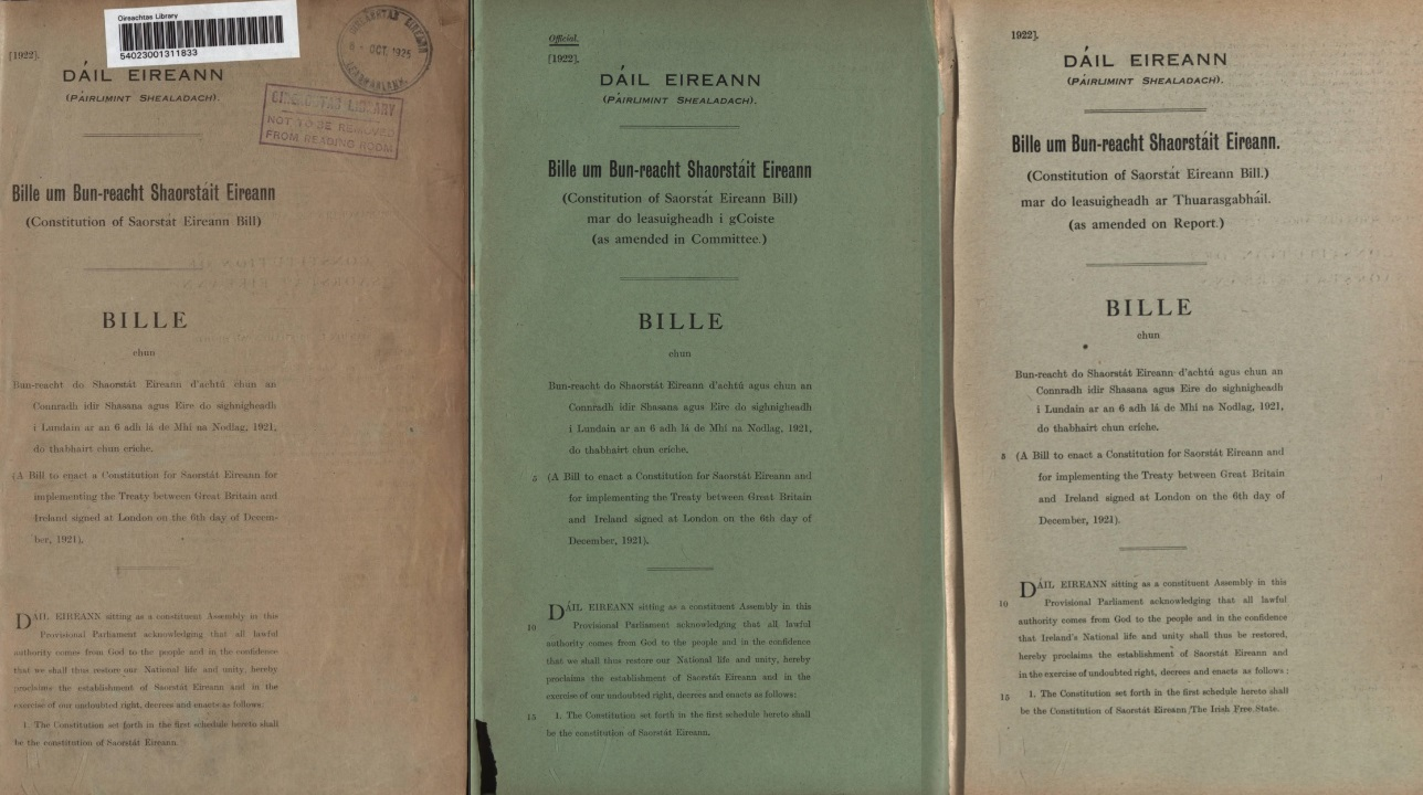 Front pages of three versions of the Constitution of Saorstát Éireann Bill 1922